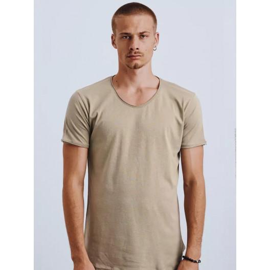 Svetlo hnedé pánske bavlnené tričko s krátkym rukávom