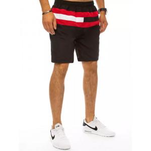 Čierne pánske plavky s farebnými pásmi
