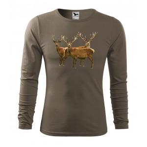 ARMY VEĽKOSŤ M Pánske bavlnené tričko s dlhým rukávom pre vášnivého poľovníka
