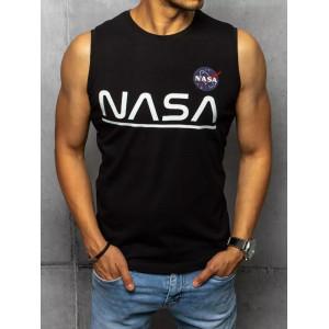 čierne pánske tričko bez rukávov s módnym nápisom NASA