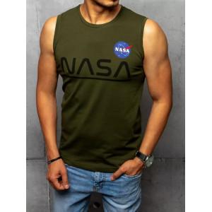 Moderné pánske khaki tričko bez rukávov