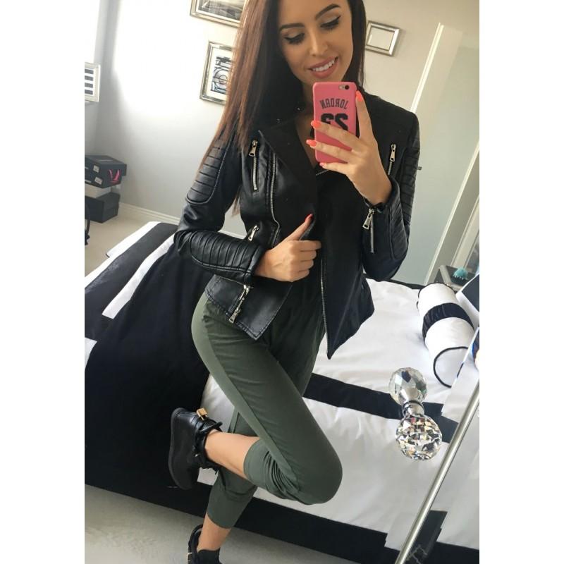 Štýlová kožená dámska bunda čierna s vreckami - fashionday.eu 573ca7fc07e