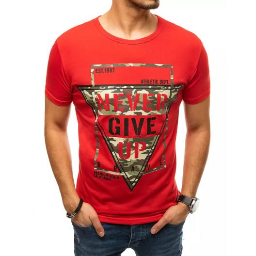 Pánske červené tričko s krátkym rukávom a potlačou