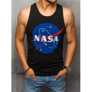 Čierne pánske bavlnené tielko s potlačou NASA
