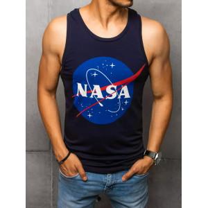 Tmavo modré pánske letné tielko s potlačou NASA
