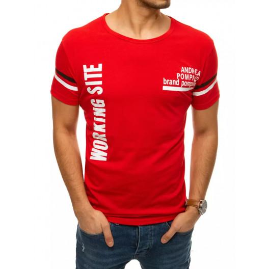 Kvalitné pánske červené tričko s nápisom