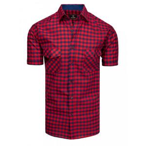 Pánska červeno modrá kockovaná košeľa s náprsnými vreckami