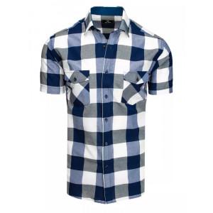 Károvaná pánska sivo modrá voľnočasová košeľa s krátkym rukávom
