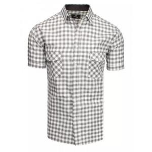 Pánska svetlo sivá slim fit košeľa s krátkym rukávom