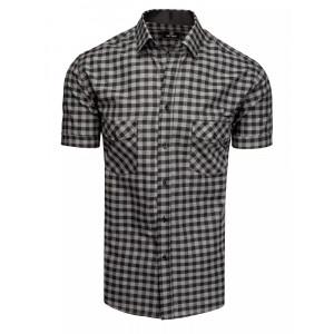 Tmavo sivá pánska slim fit košeľa s krátkym rukávom