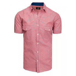 Pánska červená slim fit košeľa s náprsnými vreckami
