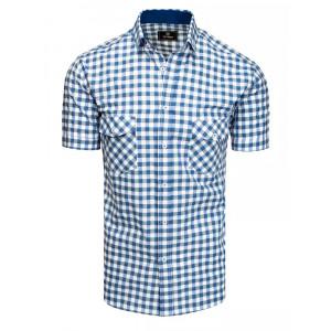 Ležérna pánska modrá kockovaná košeľa s krátkym rukávom