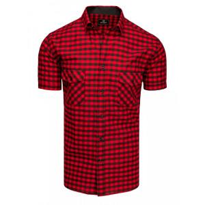 Červeno čierna pánska kockovaná slim fit košeľa