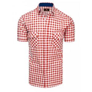 Pánska voľnočasová kockovaná košeľa s krátkym rukávom