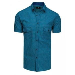Pánska modrá kockovaná košeľa s náprsnými vreckami