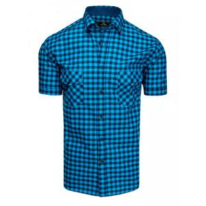 Moderná pánska modrá slim fit košeľa s krátkym rukávom