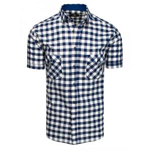 Slim fit pánska modrá voľnočasová koseľa s krátkym rukávom