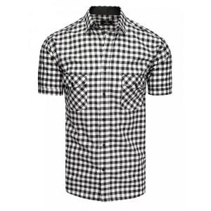 Bielo čierna pánska kockovaná slim fit košeľa s krátkym rukávom