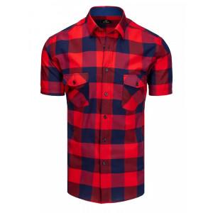 Červeno modrá pánska kockovaná košeľa s krátkym rukávom