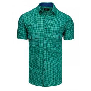 Moderná pánska zelená košeľa s krátkym rukávom a vreckami