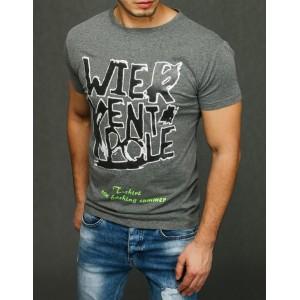 VEĽKOSŤ M SKLADOM Moderné pánske tričko sivej farby s krátkym rukávom