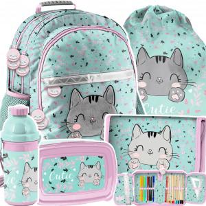 Školský batoh v 5-dielnej sade s roztomilým mačiatkom