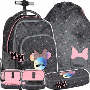 Ružová školská taška pre dievčatá so psíkmi v 3-časťovej sade