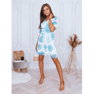VEĽKOSŤ L SKLADOM Krásne dámske mini šaty s motívom modrých ruží