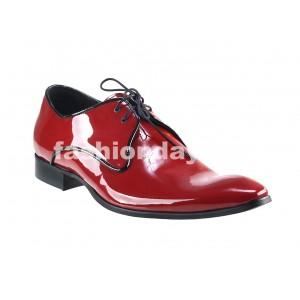 VEĽKOSŤ 45 SKLADOM Pánske kožené spoločenské topánky lesklé červené