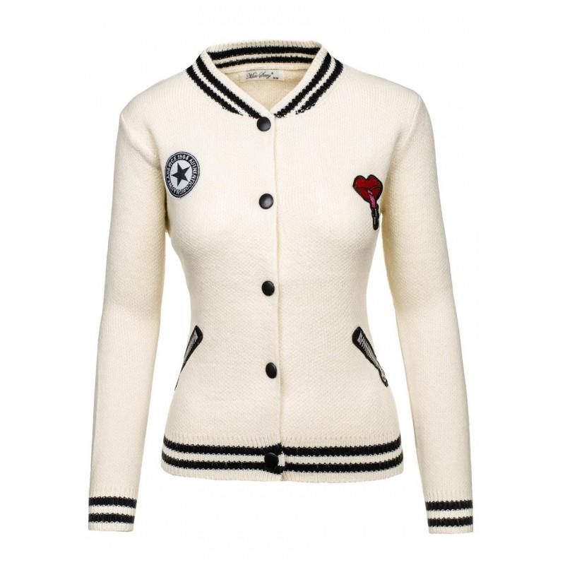 df6ca7969e07 Dámska jarná bunda bielej farby s farebnými nášivkami - fashionday.eu