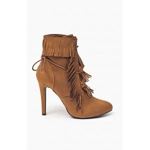 Jesenné kotníkové dámske topánky hnedé so šnúrkami