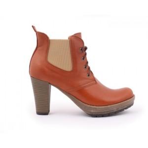 Dámske kotníkové topánky hnedé na podpätku s platformou