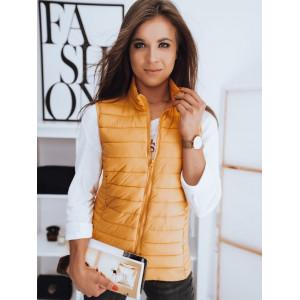 Ľahká medovo žltá dámska prešívana bunda bez rukávov