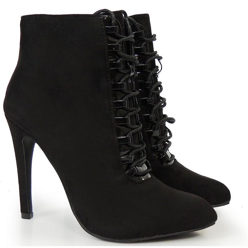 4c990c70689d Predchádzajúci. Čierne dámske členkové topánky na vysokom podpätku ...
