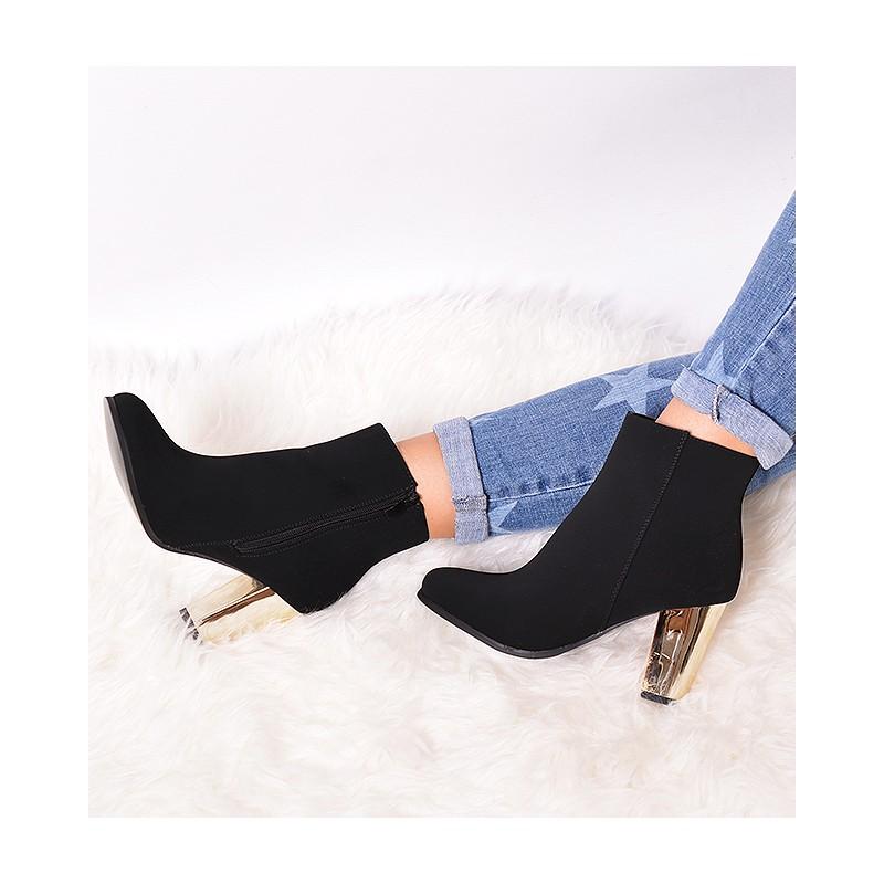 Členkové dámske prechodné topánky so zlatým opätkom - fashionday.eu 8dbbfb6a1d0