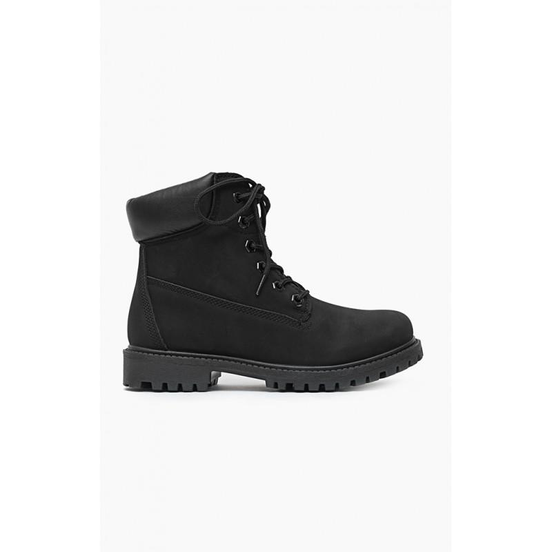 6552453897 Dámske worker topánky čierne s hrubou podrážkou - fashionday.eu
