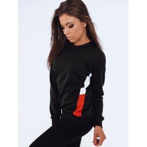 Športová dámska čierna mikina bez kapucne s bočnými farebnými pásmi