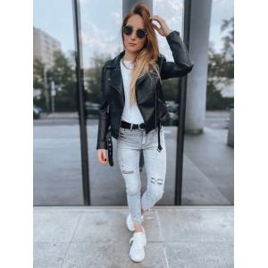 Moderná dámska čierna kožená bunda s opaskom