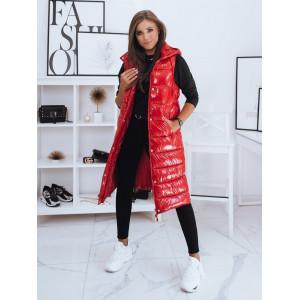 Jednofarebná dámska dlhá červená bunda na zimu bez rukávov
