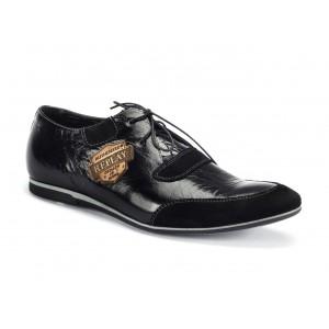 Pánske športové kožené topánky čiernej farby COMODO E SANO