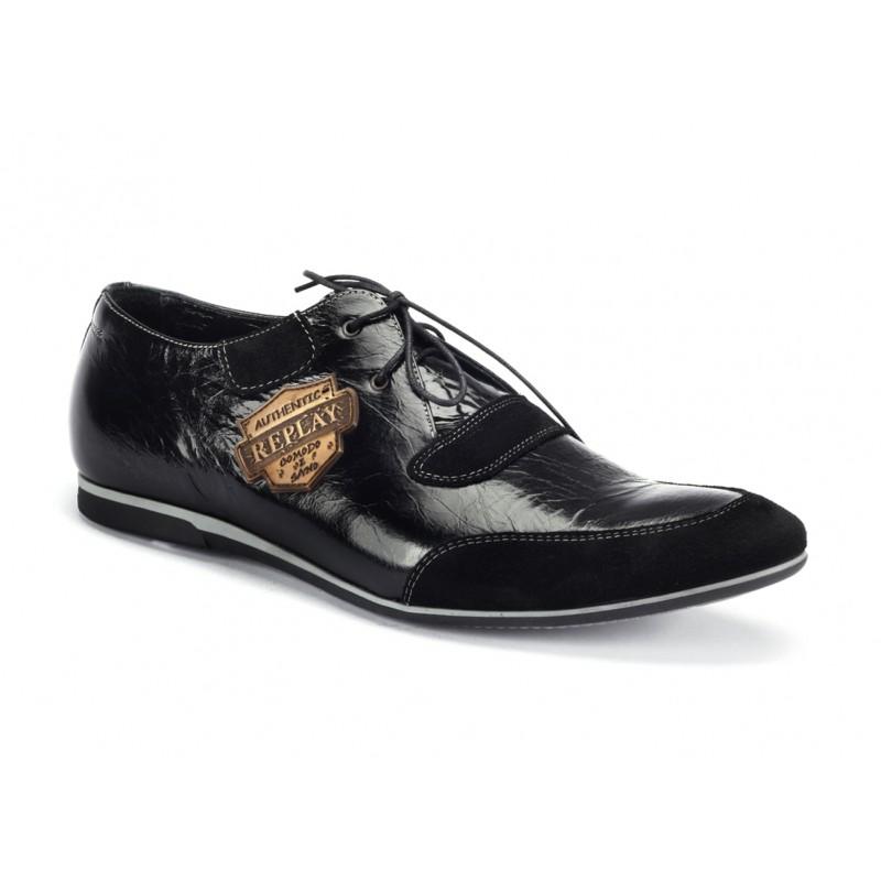 Pánske športové kožené topánky čiernej farby COMODO E SANO ... b45996fc5c8