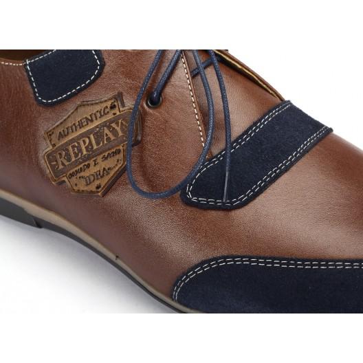 COMODO E SANO hnedé kožené športové topánky s nášivkami