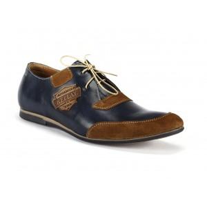 Tmavomodré pánske kožené topánky s nášivkami COMODOESANO