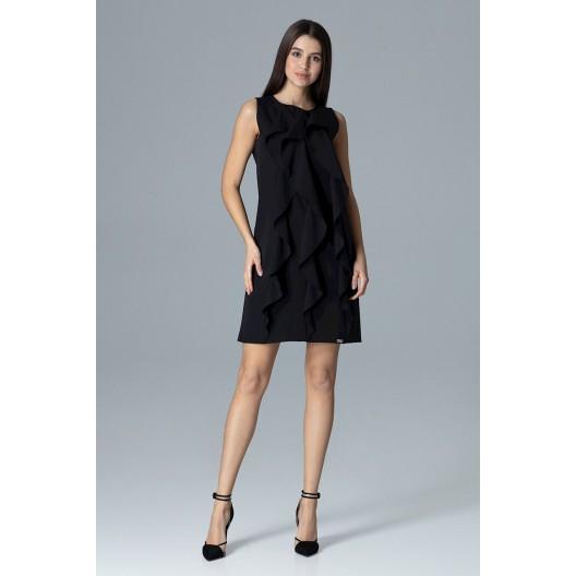 Elegantné šaty na svadbu bez rukávov v čiernej farbe