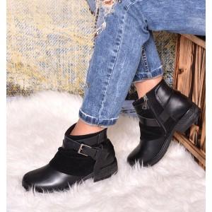 Čierna dámska kotníková obuv na zimu s nízkym podpätkom