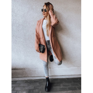 Elegantný dámsky jesenný kabát v módnej broskyňovej farbe