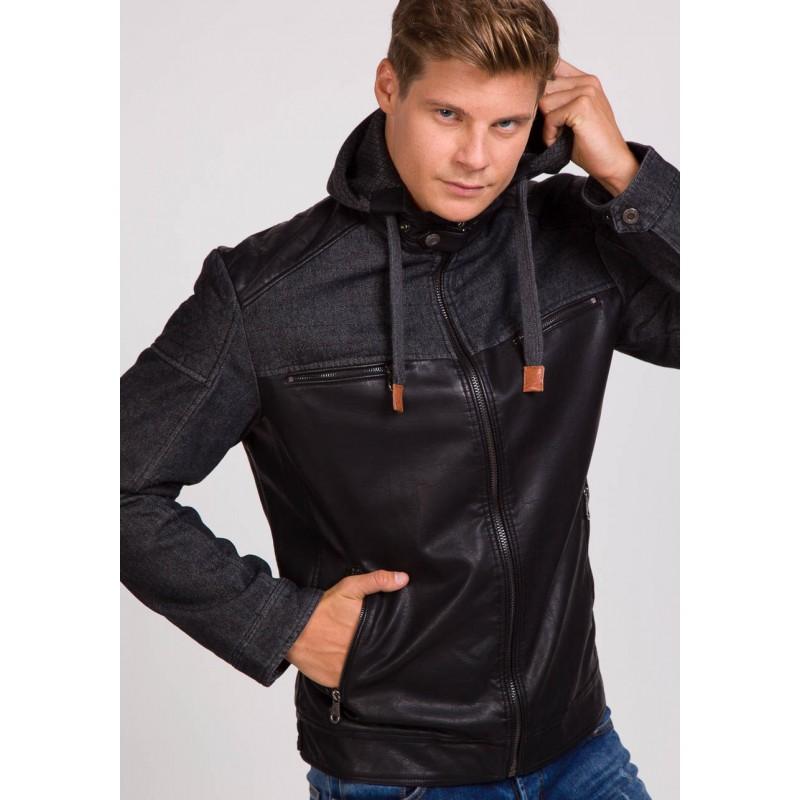 Predchádzajúci. Pánska kožená bunda s odnímateľnou kapucňou čiernej ... 2db5964bf57