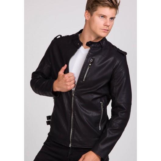 Čierna pánska koženková bunda bez kapucne - fashionday.eu 77b322d842b