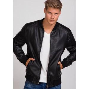 Prechodná pánska koženková bunda čierna bez kapucne