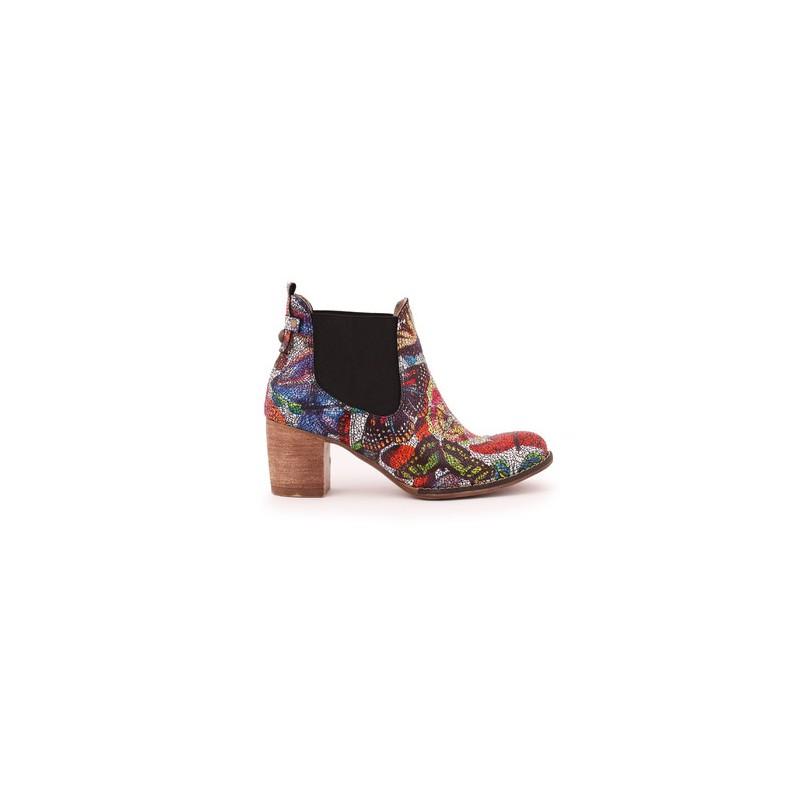 bdf14f8bcfd0 Viacfarebné dámske kožené topánky na podpätku · Viacfarebné dámske kožené  ...